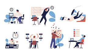 grafische Darstellung von Arbeitssituationen im Büro.