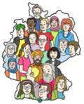 Menschen unterschiedlicher Kulturen auf Deutschlandkarte
