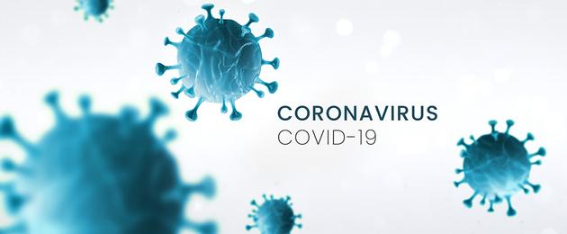 Schematische Abbildung von Viren. In dem Bild finden sich die Worte Coronavirus und Covid-19.