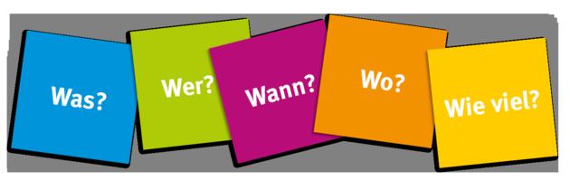 """Punktekarten mit den fünf """"W-Fragen"""" Was?, Wer?, Wann?, Wo?, Wie viel?"""