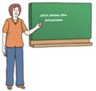 Lehrer an Tafel