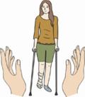 Schützende Hände um Frau