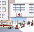 Krankenwagen mit Krankenhaus im Hintergrund
