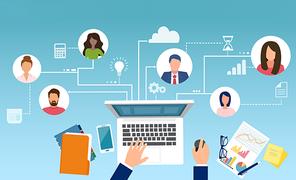 Grafische Darstellung mehrerer Personen bei digitaler Zusammenarbeit.