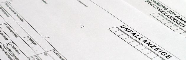Ausschnitt eines Formulars für eine Unfallanzeige